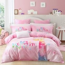 Fancy Girls Giraffe Print Monogrammed Hipster Cartoon Animal Themed Full, Queen Size Bedding Sets in Rose Red Pink Yellow and Blue