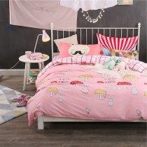 Girls Cute Kawaii Bunny and Mushroom Print Twin, Full Size Bedding Sets