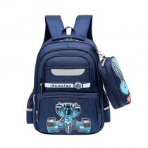 Navy Blue and Turquoise Polyester Boys Pupil Preppy School Book Bag Quilted Personalized Racing Car Kids Campus Backpack
