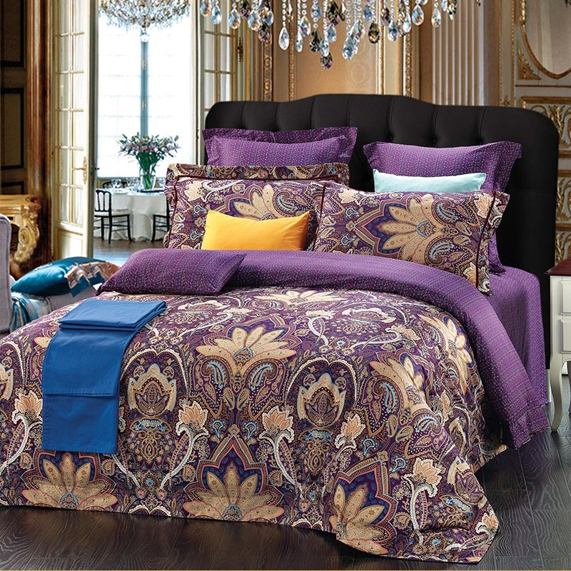 Tyrian Purple and Gold Bohemian Chic Western Paisley Print Tribal Pattern 100% Cotton Damask Queen Size Bedding Sets