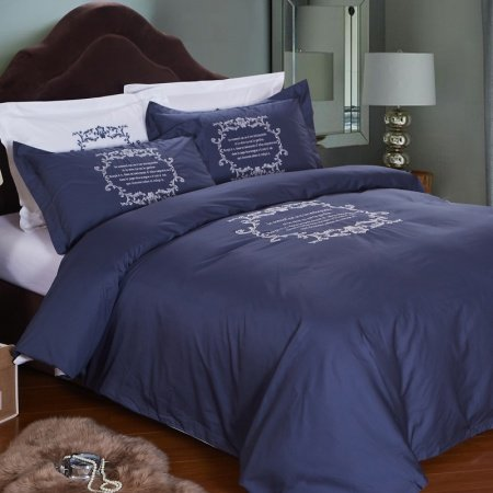 Navy Blue and White Monogrammed and Floral Print 5 Star Hotel 100% Cotton Satin Full, Queen Size Bedding Sets