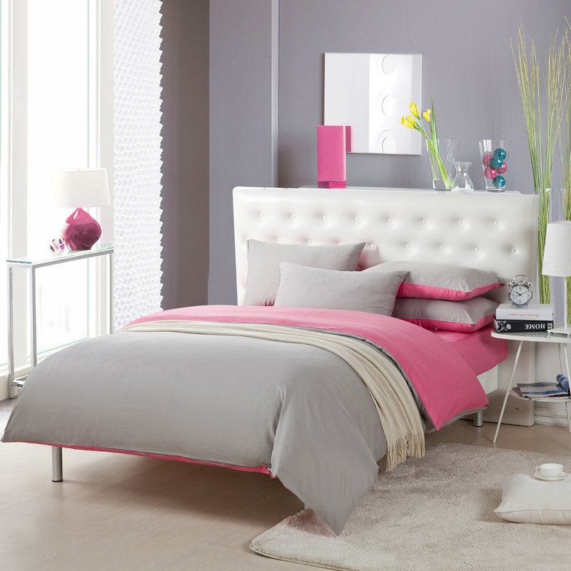 Cheap Light Gray and Pink Solid Pure Colored Simply Chic Full, Queen Size 100% Cotton Bedding Sets