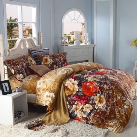 Brown Green and Light Tan Vintage Chic Floral Print Full, Queen Size 100% Cotton Bedding Sets