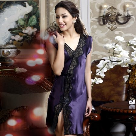 Grape Summer Silk Pajamas Sexy Lace Roomware Slips Breathable M/L/XL
