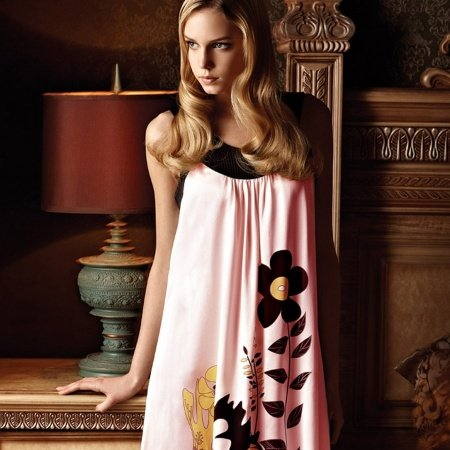 Black and Pink Abstract Flower Print Crewneck Sleeveless 100% Pure Silk Pajamas