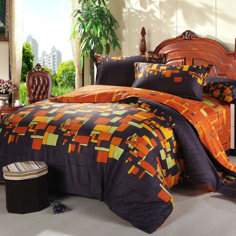 Black and Orange Traditional Geometric Plaid Print Full, Queen Size 100% Cotton Satin Bedding Sets