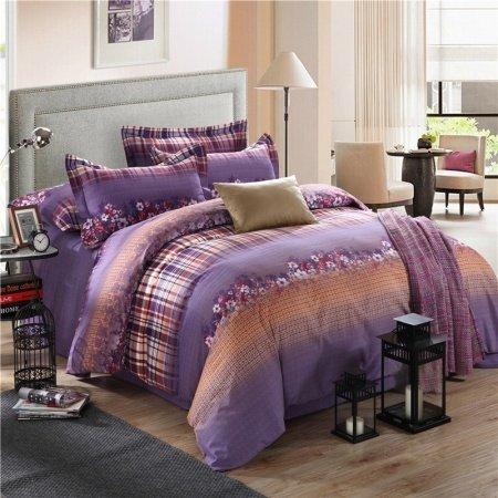 Purple and Grey Elegant Autumn Vintage Chic Daisy Flower Stripe Print Bedding Sets