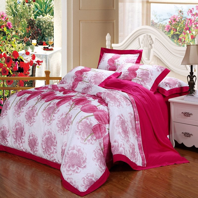 Red and White Romantic Warm Unique Cute Floral Bright Jacquard Asian Inspired Full, Queen Size Bedding Sets