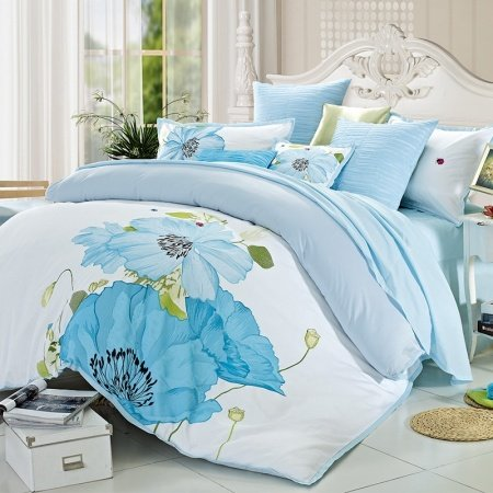 Tiffany Blue and White Retro Oriental Chinese Style Water Lotus Print Full, Queen Size 100% Cotton Bedding Sets