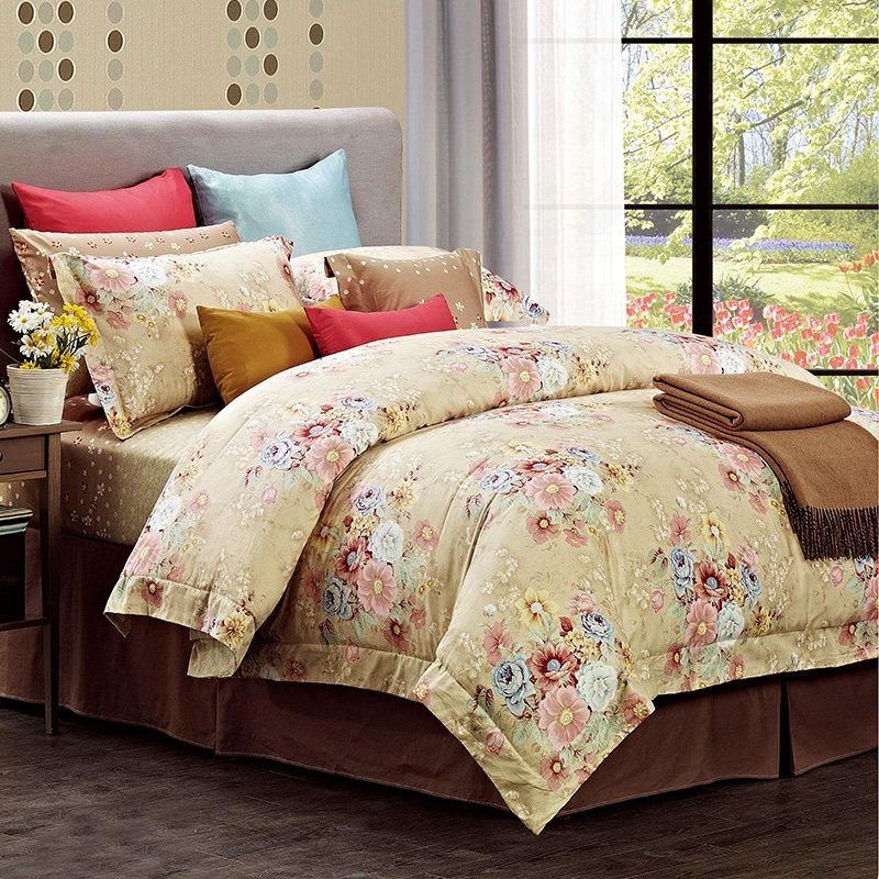 Beige Blue and Brown Classic Flower Garden Oriental Style Rustic Chic Luxury 100% Egyptian Cotton Full, Queen Size Bedding Sets
