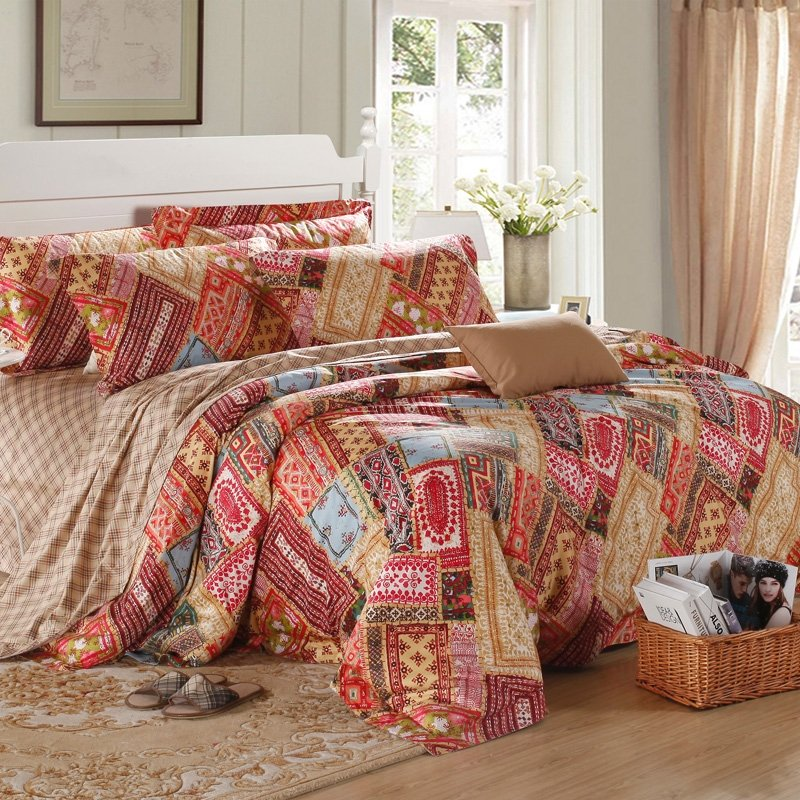 Red Brown and Blue Colorful Indian Tribal Bohemian Style Luxurious Exotic Modern Chic 100% Egyptian Cotton Full, Queen Size Bedding Sets