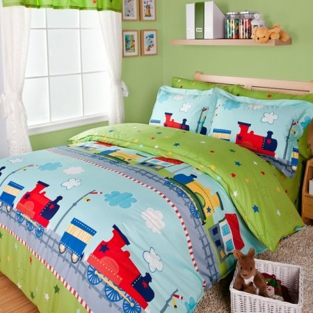 Green Blue and Red Cartoon Train Colorful Cute Happy Holiday Personalized Girls and Boys 100% Cotton Twin, Full Size Bedding Sets