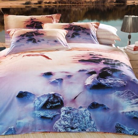Blue Purple and Brown Dolphins Print Holiday Ocean Sunset Scene Tropical Nature 3D Bedding Sets for Girls and Boys