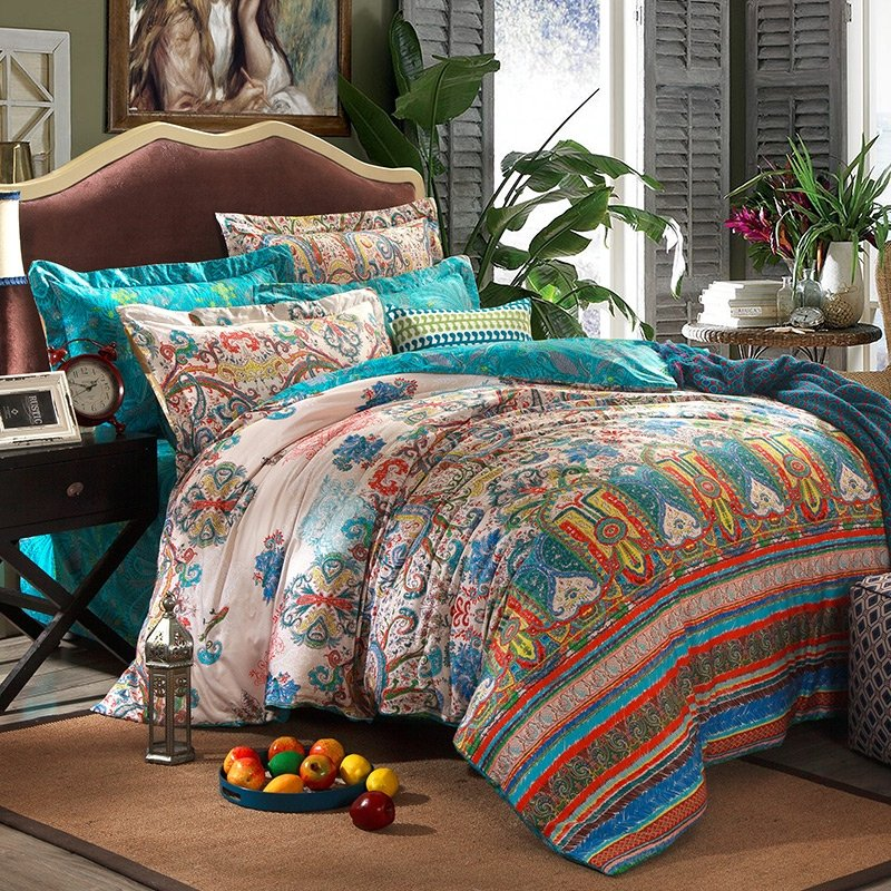 High Fashion Turquoise Green and Pink Personalized Exotic Indian Style Tribal Print Full Size Bedding Sets