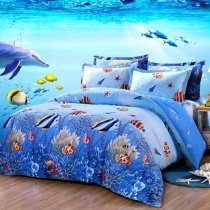 Ocean Blue and Colorful Marine Life Scene Tropical Hawaiian Fish and Starfish Print Kids Twin, Full Size Bedding Sets