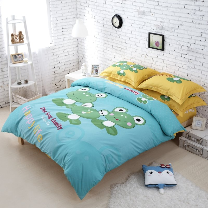 Acid Blue Green and Mustard Yellow Frog Print Full Size Bedding Sets for Kids
