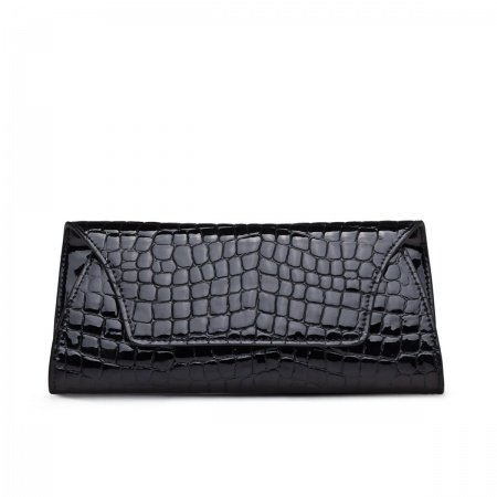 Plain Black Cowhide Genuine Leather Embossed Crocodile Women Evening Clutch High Fashion Party Wedding Small Envelope Flap Bag