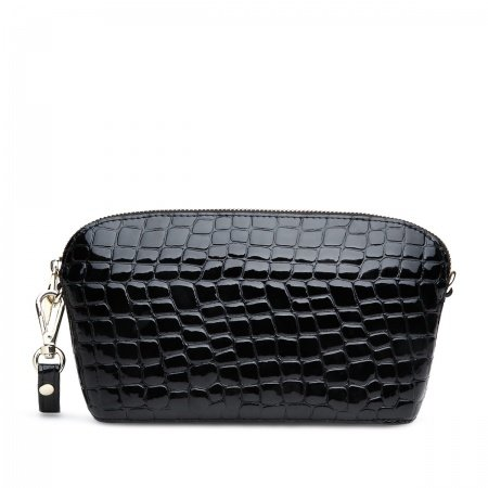 Plain Black Cowhide Genuine Leather Crossbody Shoulder Handle Bag Personalized Embossed Alligator Chain Mini Sea Shell Evening Clutch