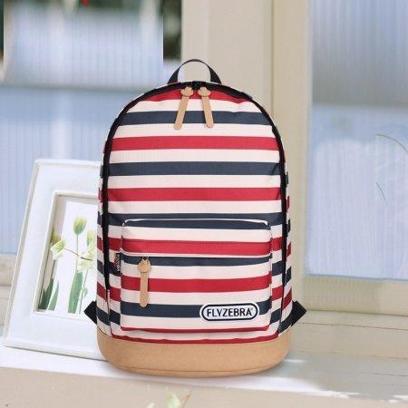 Dark Blue White and Red Horizontal Multi-stripe Print Korean Preppy Style Zipper Polyester Kids Satchel Backpack School Bag for Girls, Boys