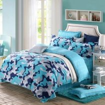 Navy Blue Sky Blue Grey and White Modern Camouflage Print Abstract Design Unique 100% Cotton Full, Queen Size Bedding Sets for Boys