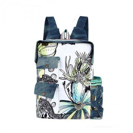Jean Blue Black and White Preppy Style Retro Flower Print Large Zipper Rectangle Shaped Satchel, School Book Backpack Bag for Teen Girl