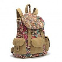 Khaki Brown Turquoise and Red Vintage Western Style Bohemian Bauhinia Print Casual Drawstring Canvas Satchel Backpack Take Cover Travel Bag