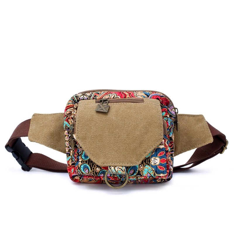 Khaki Brown Blue and Red Canvas Vintage Mediterranean National Style Bohemian Floral Print Casual Women Small Purse Waist Pack Travel Bag