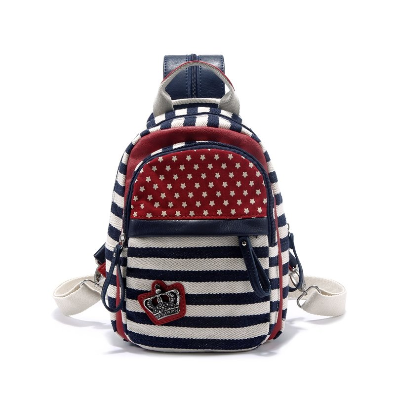 Navy Blue White and Red American Flag Themed Stars and Stripes Print Canvas Teen Girls Small School Messenger Bag Travel Backpack Chest Bag