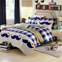 Navy Blue, Light Blue and White Magic Mustache and Kiss Lips Print Checkered Plaid Unique Girls, Boys 100% Cotton Twin, Full Size Bedding Sets