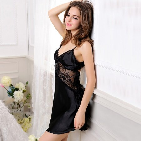 Solid Black Seductive Women 1 Piece Soft Imitated Silk Polyester Slimming Sexy Hollow Out Lace V-neck Condole Belt Backless Skirt Pajamas