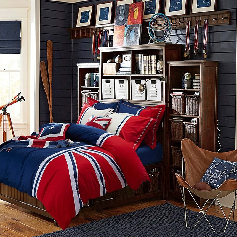 Solid Navy Blue with Red and White Stripe British Style Traditional Reactive Printed Soft 100% Cotton Damask Full, Queen Size Bedding Sets