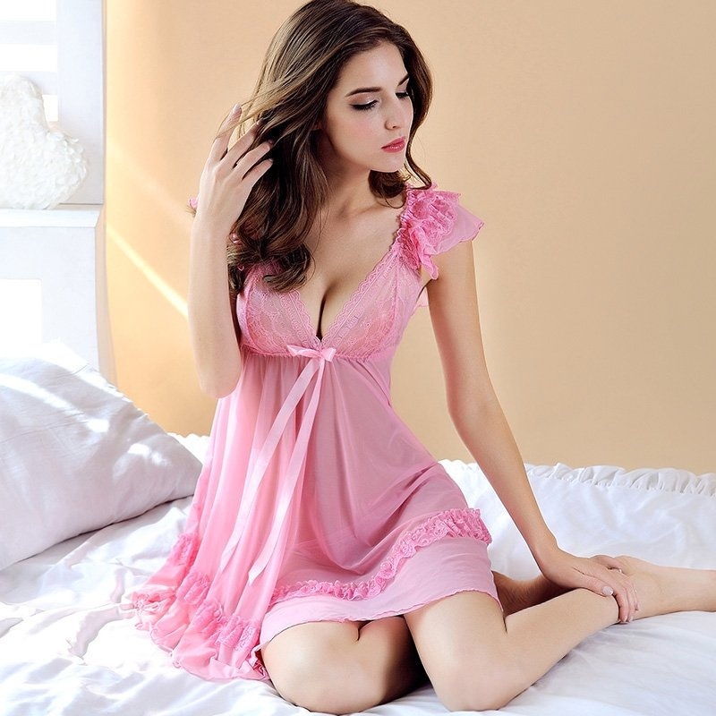 Rose Pink Soft Sexy See-through Breathable Chiffon Seductive Ruffled V-neck Wide Straps Skirt Thong Contracted Falbala Slimming Girl Pajamas