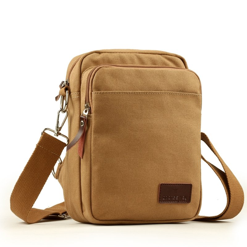 Earth Yellow Canvas Casual Mitoshop Korean Style Crossbody Bag Vogue Trendy Outdoor Travel Bag Zipper Applique Men Small Single Shoulder Bag