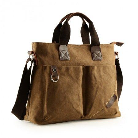 Coffee Brown Canvas Briefcase Purse Luxury Casual Business 13 Inch Laptop Bag Mitoshop Vogue Applique Zipper Men Medium Crossbody Tote Bag