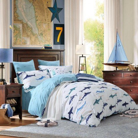 Navy Blue and White Marine Animal Sharks Print Abstract Design Cool Personalized Teen Boys 100% Cotton Damask Full, Queen Size Bedding Sets