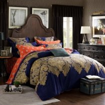 Navy Blue Coral and Gold Vintage Tribal Print Paisley Park Bohemian Style Exotic Baroque Themed 100% Cotton Full, Queen Size Bedding Sets