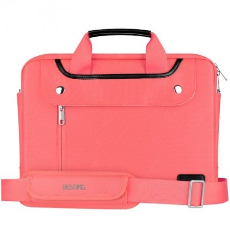 Coral Pink Water-proof Durable Nylon 14 Inch Laptop Purse Luxury Casual Business Contracted Zipper Sequined Unisex Medium One Shoulder Bag