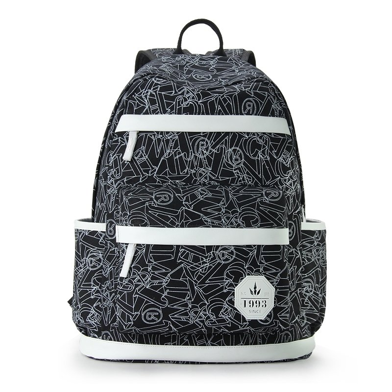 Black Durable Canvas with White Leather Trim Boutique Women Travel Backpack Geometric Printed Printed Sewing Pattern School Bag
