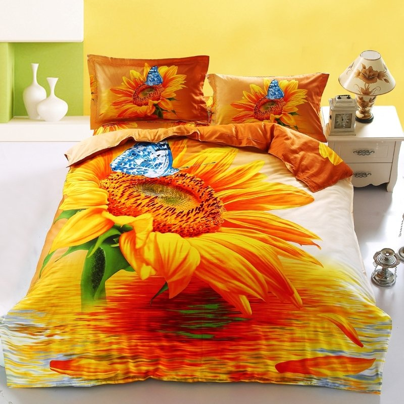 Orange White and Green Sunflower Print with Blue Butterfly 3D Design Rustic Style 100% Cotton Damask Twin, Full Size Bedding Sets