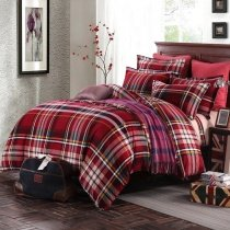 Dark Red and Beige Rugged Plaid Print Traditional Simply Chic Vintage Warm Color 100% Brushed Cotton Full, Queen Size Bedding Sets