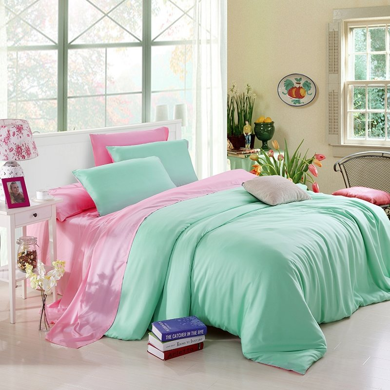 Luxury Bright Mint and Pink Plain Colored Simply Chic Noble Excellence Expensive Microfiber Girls 100% Tencel Full, Queen Size Bedding Sets