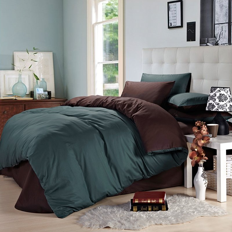 Gunmetal and Coffee Pure Colored Simply Chic Vintage Western Style Mens Microfiber Cotton Percale Fabric Full, Queen Size Bedding Sets