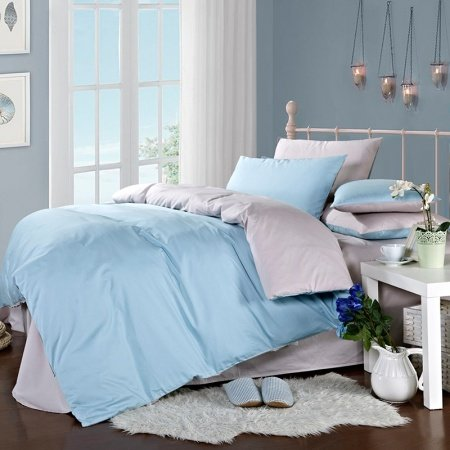 Light Blue and Silver Pure Colored Traditional Modern Simply Chic Microfiber Cotton Percale Fabric Boys Full, Queen Size Bedding Sets