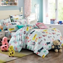 Light Blue and Teal Multi-color Jungle Animal Party Zoo Park Cute Style Abstract Design Unique Kids 100% Cotton Twin, Full Size Bedding Sets