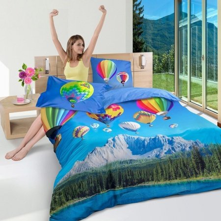 Sky Blue and Forest Green Alps Mountain Adventure Travel Sport Style 3D Design Luxury 100% Cotton Damask Full, Queen Size Bedding Sets