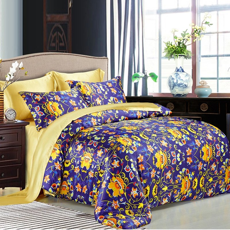 Navy Blue Gold and Orange English Ivy Flower Print Vintage Girls Full, Queen Size 100% Mulberry Silk Luxury Bedding Sets