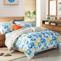 Peacock Blue Yellow and White Tropical Floral Print Shabby Chic Western Style Reversible 100% Egyptian Cotton Full, Queen Size Bedding Sets