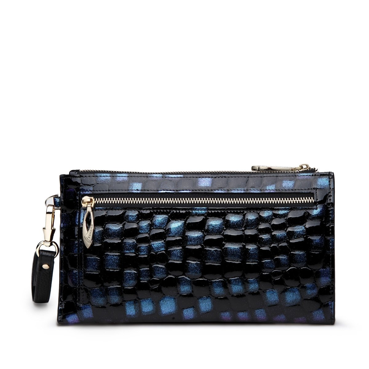 Black Blue Cowhide Genuine Leather Embossed Alligator Long Wallet Vogue Casual Party Evening Clutch Purse Socialite Women Handle Bag
