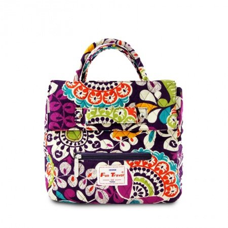 Personalized Durable Canvas Women Studded Tote Bag Colorful Tribal Floral Print Vintage Moroccan Style Zipper Flap Diamond Purse