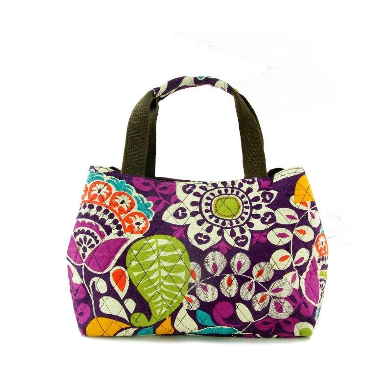 Durable Canvas Bohemian Colorful Maya Pattern Small Tote Bag Handmade Abstract Floral Print Stylish Moroccan Style Diamond Purse